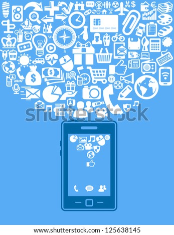 vector smartphone with white application icons set - stock vector