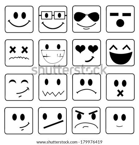 Vector Smile Icon Set  - stock vector