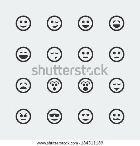 Vector smile mini icons set - stock vector
