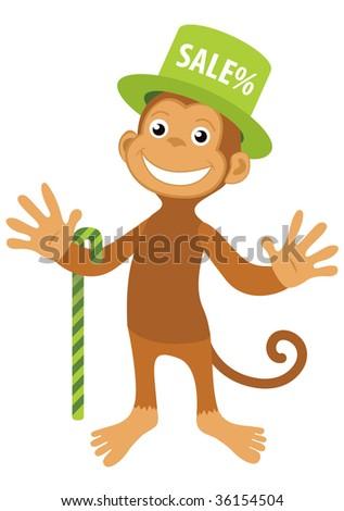 Vector smile monkey in green sale hat - stock vector