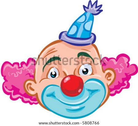 vector smiling clown illustration - stock vector