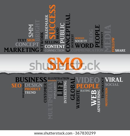 Vector SMO concept related words in tag cloud isolated on gray, business concept, internet, trade. The effect of torn paper  - stock vector