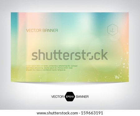 Vector smooth web banner, business card or flyer design. Blurry unfocused photographic vintage film effect with cross process, light leaks and bokeh lights. Grungy soft summer background.  - stock vector