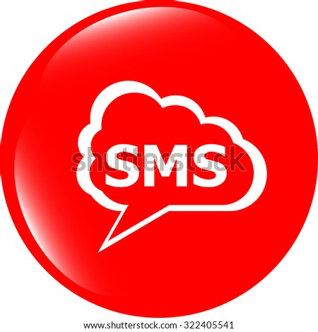 vector sms glossy web icon isolated on white background