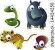 vector snake, hippo, cheetah and cockleshell - stock vector