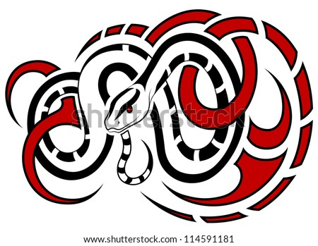 Vector Snake, in the form of a tattoo - stock vector