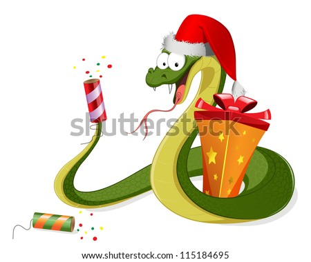 Vector snake with presents - stock vector