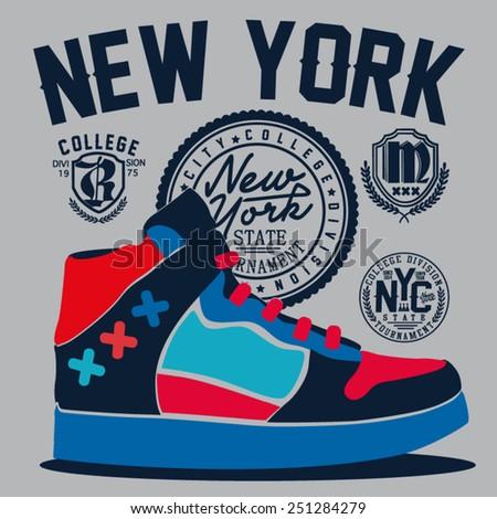 vector sneakers design - stock vector