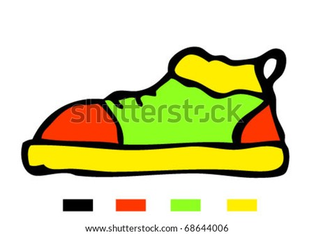 vector sneakers, gym-shoes - stock vector