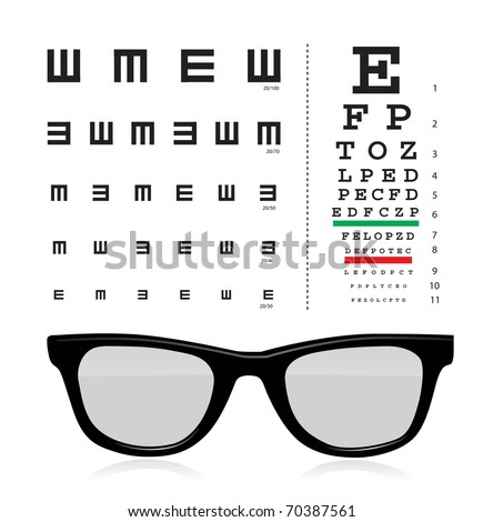 vector Snellen eye test chart with glass isolated on white background.