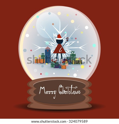 Vector snow globe with a Christmas elf on a background of snowflakes surrounded by gifts - stock vector