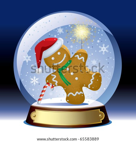 Vector snow globe with a gingerbread man with a sparkler within - stock vector