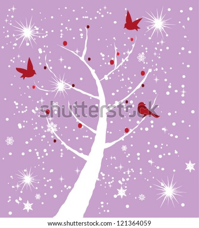 vector snow tree with red birds - stock vector