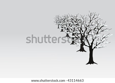 vector snow trees background - stock vector