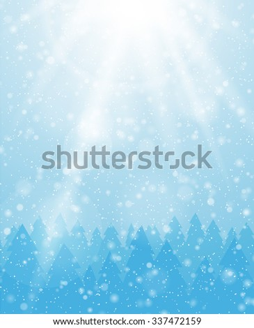 Vector snowfall background. Winter snowy landscape.