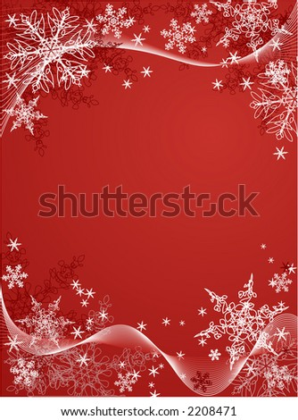 vector snowflake background on red