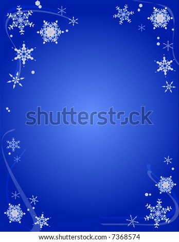 Vector Snowflake Border Background for Christmas or New Years - stock vector
