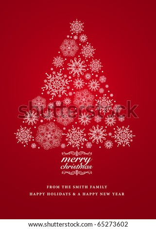 Vector Snowflake Christmas Tree Background