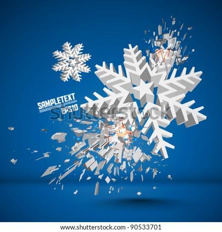 Vector Snowflake Crushing - stock vector