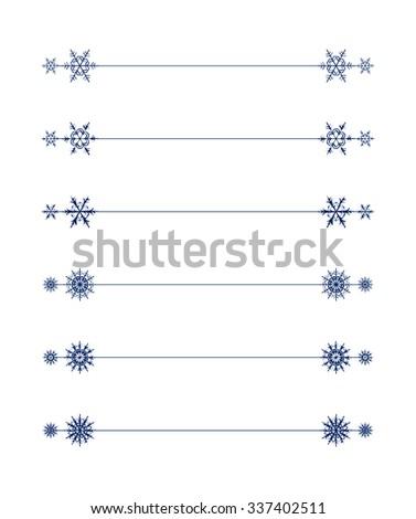 Vector snowflakes divider design blue holiday winter Christmas set - stock vector