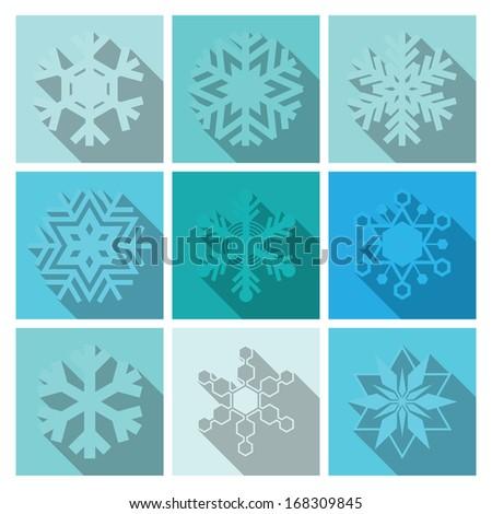 Vector Snowflakes Icons Set Design  - stock vector