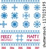 Vector Snowflakes in pixel style  Christmas and New Year greetings 2013-2017 - stock photo