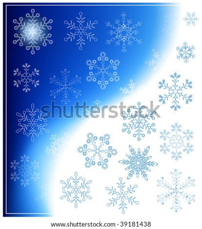 Vector snowflakes on blue background.