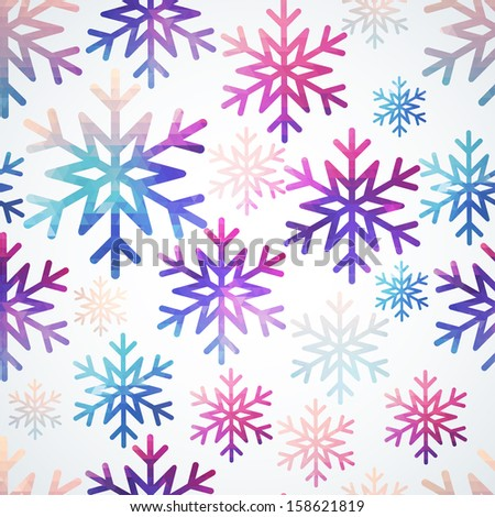 Vector snowflakes pattern. Abstract snowflake of geometric shapes. Christmas. New Year card illustration. Holiday design. Winter. Backdrop. Seamless pattern can be used for wallpaper, pattern fills - stock vector