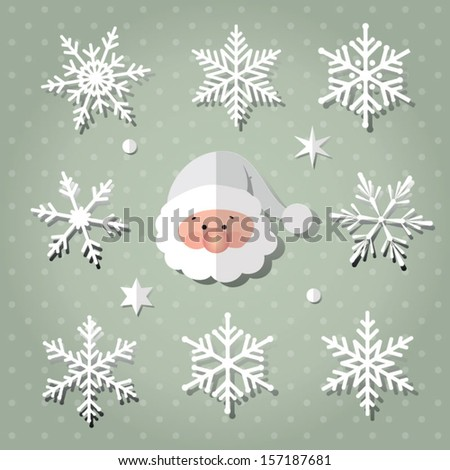 Vector snowflakes set and santa claus for Christmas design. - stock vector