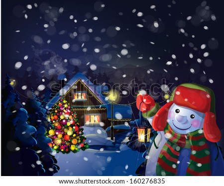 Vector snowman holding  lantern on Christmas scene background.  - stock vector