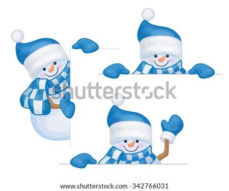 Vector snowmen cartoons hiding by blank isolated. - stock vector
