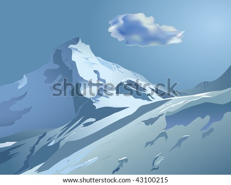 Vector snowy mountains with blue sky and cloud - stock vector