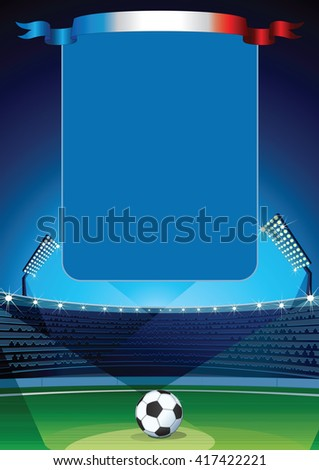 Vector 2016 Soccer Background. Soccer Field with Empty Scoreboard. - stock vector