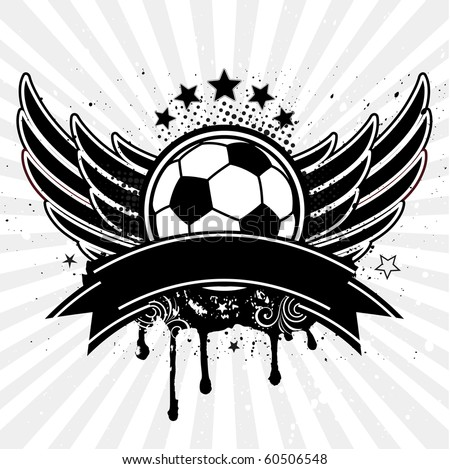 vector soccer ball and wing - stock vector