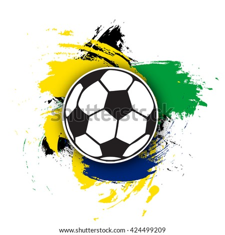 vector soccer ball on the background of multi-colored brushstrokes. football ball for banner, poster or flyer on a soccer theme. - stock vector