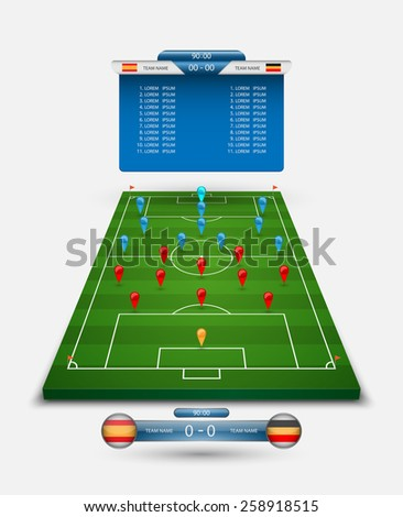 vector soccer field with scoreboard,vector  - stock vector