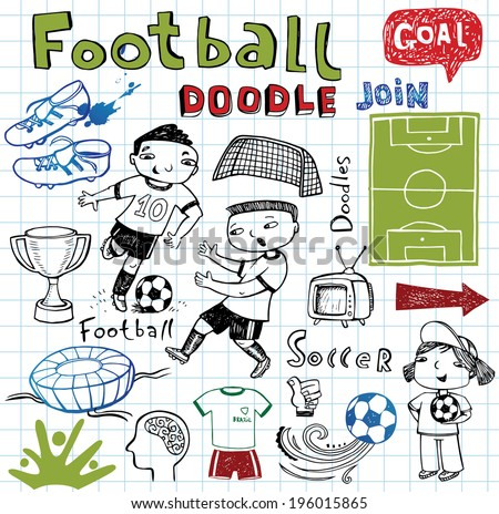 Vector soccer icon set on white in doodle style.  - stock vector