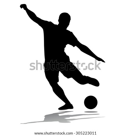 vector soccer player silhouette. player shooting.white background - stock vector