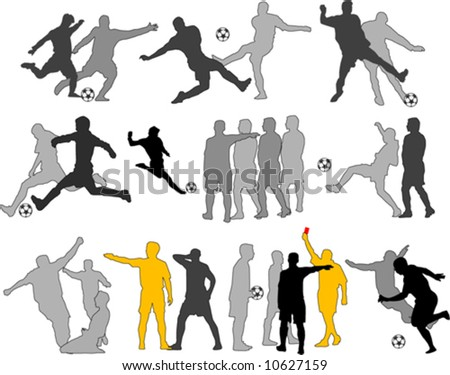 Vector Soccer Players Silhouettes - stock vector
