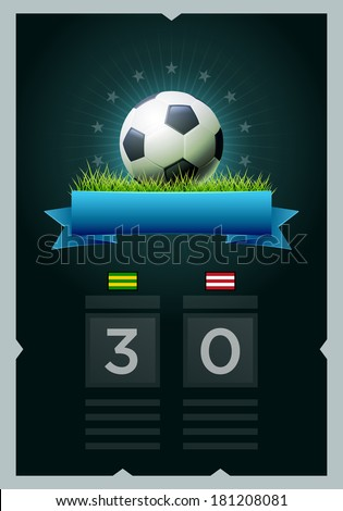Vector soccer scoreboard design. Elements are layered separately in vector file. Easy editable. - stock vector