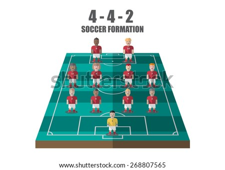 Vector soccer strategy  4-4-2 tactic flat graphic - stock vector