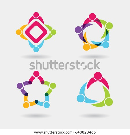 Vector social logo icons of people together - sign of unity, teamwork. Also represents community, partnership & team, children playing, engagement & interaction, kids fun, office, employees & staff