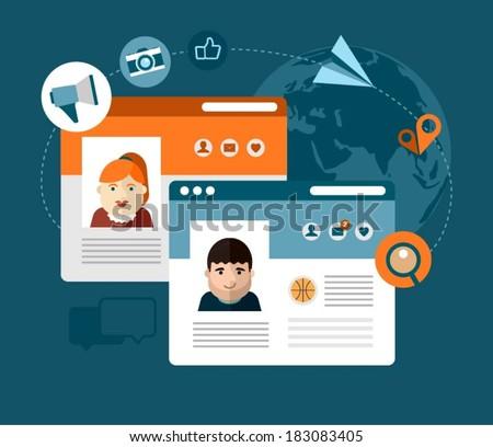 vector social media concept illustration - stock vector