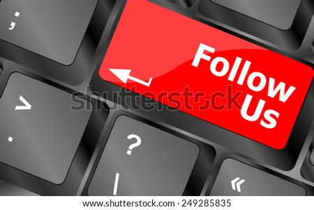 vector Social media concept: Keyboard with Follow Us button - stock vector