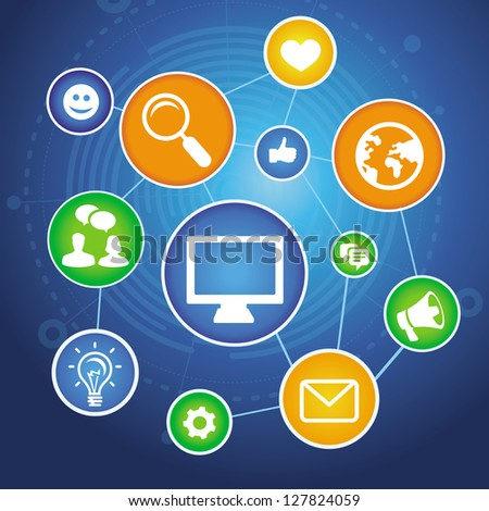 Vector social media concept with  bright app icons and signs - stock vector