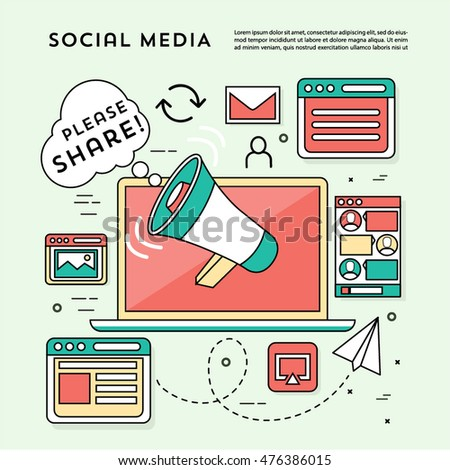 Vector Social Media Illustration Icon set