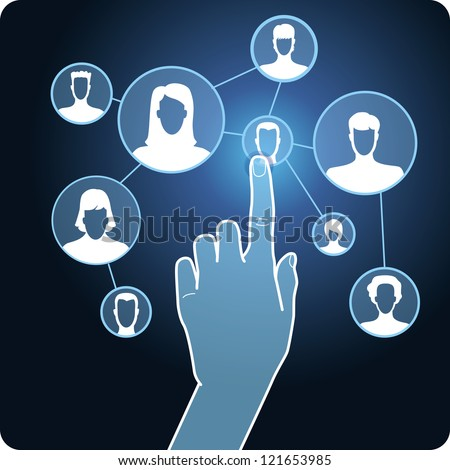 Vector social media network - hand and touchscreen with icons - stock vector
