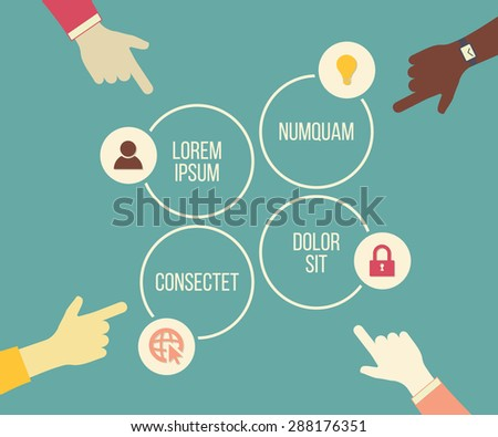 Vector social meeting concept with hands and choice elements. Business presentation or infographic template. - stock vector