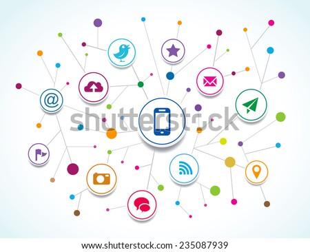 Vector social network - stock vector