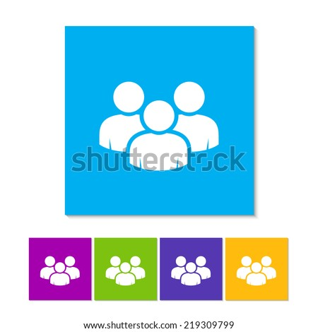 Vector social network button. Users icon design element. Orange, purple, magenta, violet, yellow, green and blue color buttons - stock vector